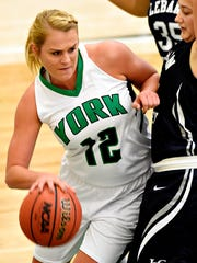 York College's Morgan Kuehne, left, is seen here in action from earlier this season. She led York with 18 points in the Spartans' win over St. Mary's on Wednesday.