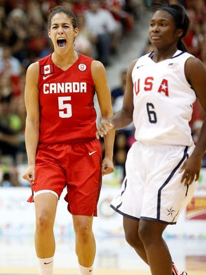Kia Nurse (5) scored 33 points Monday leading Canada women's basketball to a 81-73 win over the U.S. in the Pan American Games gold-medal game.