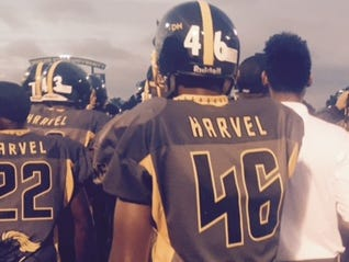 """The Detroit King players all wore """"Harvel"""" on the back of their jerseys Saturday."""