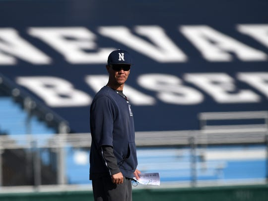 Nevada baseball coach T.J. Bruce stands on the field during the first day of practice Friday at Peccole Park.