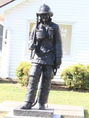 The older statue to fallen firefighters has been moved