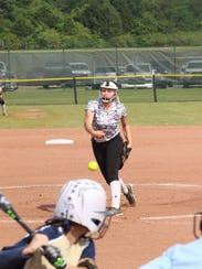 Clarksville High's Lindsey Eldridge delivers a pitch