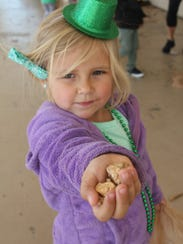 """Harper Pepper, 3, shows off her """"gold nuggets"""" that"""