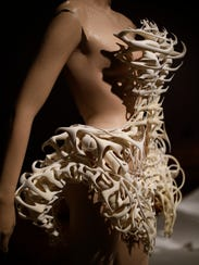 A skeletal dress from the Capriole collection in the