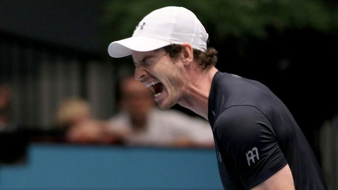 Andy Murray of Great Britain reacts during the final match against Jo-Wilfried Tsonga of France at the Erste Bank Open.
