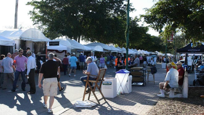 There will be between 100 and 120 first-time exhibitors this year the Cape Coral Festival of the Arts. More than 300 exhibitors will have their work on display and for sale. This is a scene from last year's event, which is held on the Cape Coral Parkway.