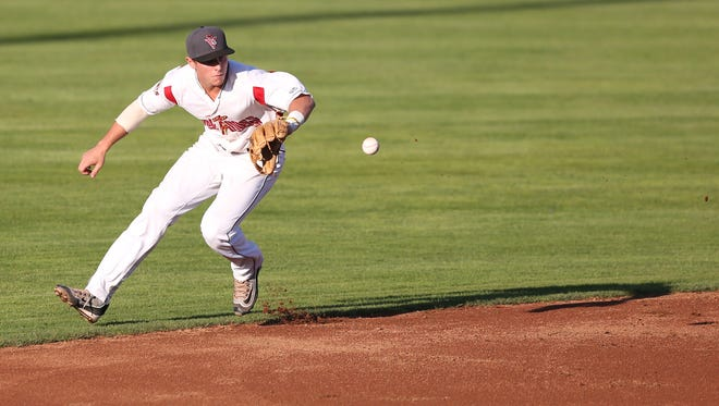 Salem-Keizer's Ryan Howard and the Volcanoes take on the Boise Hawks during a game on Tuesday, July 19, 2016, at Volcanoes Stadium in Keizer.