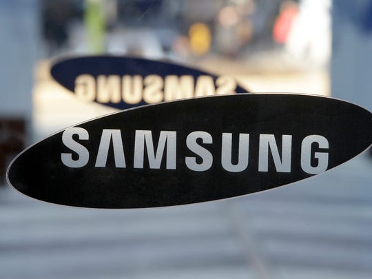 In this Jan. 8, 2015, file photo, a logo of Samsung