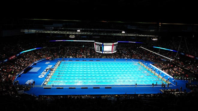 General view of an Olympic swimming pool.