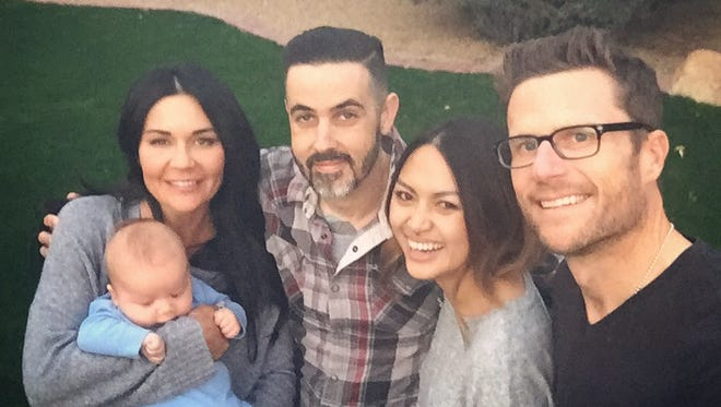 Matt McAllister (right) with his wife, Vanessa (left) and son Jude; former producer Joe Wallace; and Wallace's girlfriend, Sophie Agbayani.