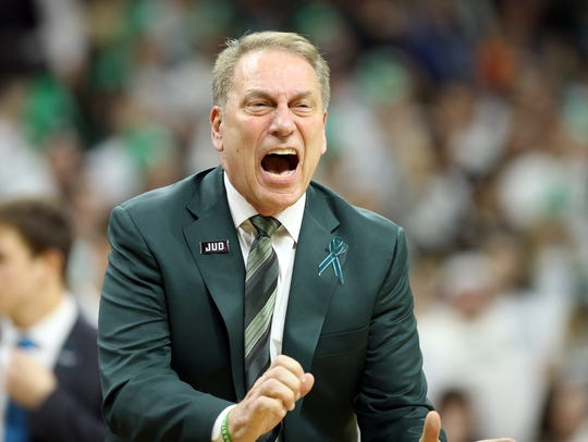 Michigan State Spartans head coach Tom Izzo reacts during the first half of a game against the Purdue Boilermakers at the Jack Breslin Student Events Center. Izzo's Michigan State program has reportedly been part of the far-reaching FBI probe into college basketball.