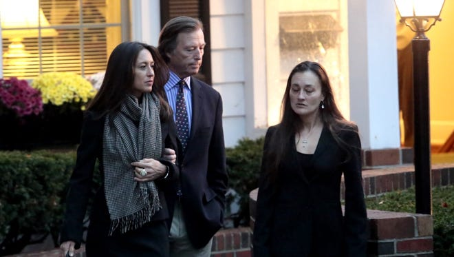 Bruce Colley and his wife Teresa leave the Clark Funeral Home in Katonah for the wake of his slain mother Lois Colley on Nov. 12, 2015.