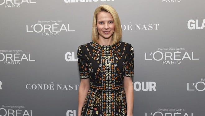 Marissa Mayer poses on the red carpet at the Glamour Women of the Year event last fall.