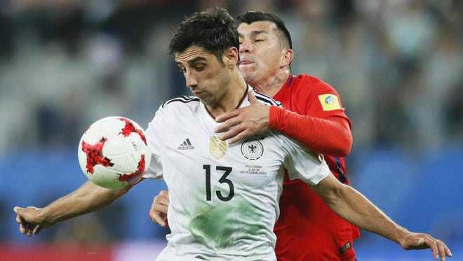 Lars Stindl of Germany attempts to control the ball during the FIFA Confederations Cup final.