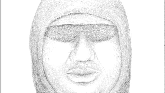 The sketch of a suspect in the armed robbery of Sally Beauty Supply in Appleton.