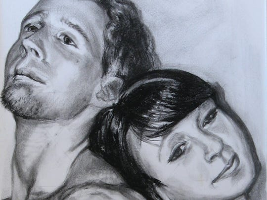 Sauk Rapids artist John Heckman made this sketch of figure models Erin Gerber (right) and Derek Spoden. Gerber said she decided to model at the Paramount Visual Arts Center to challenge her self-image.