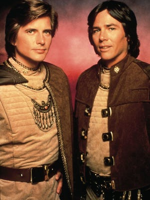 """On the original """"Battlestar Galactica"""" (1978-1979), Richard Hatch (right) played Apollo and Dirk Benedict was Starbuck. Hatch died Tuesday in Los Angeles."""
