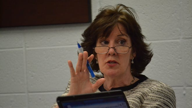 Oconto Unified School District superindent Dr. Sara Croney, seen at at an April 2013 school board meeting.