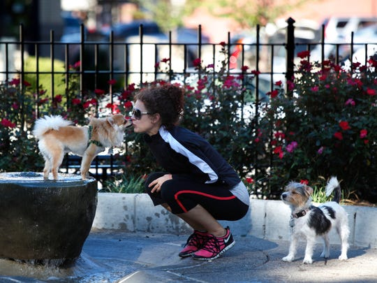 Claire Hoetker gets a kiss from Bandit, her Pomeranian,