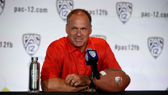 Arizona head coach Rich Rodriguez talks to the media during the Pac-12 media say at Paramount Studios in July 23, 2014, in Holywood.