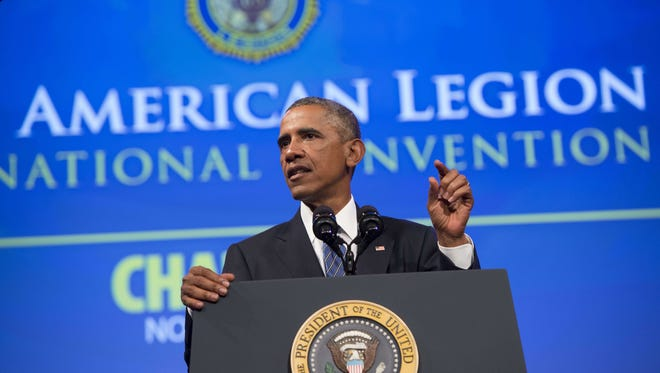 President Obama speaks at the American Legion's 96th National Convention in Charlotte Tuesday.