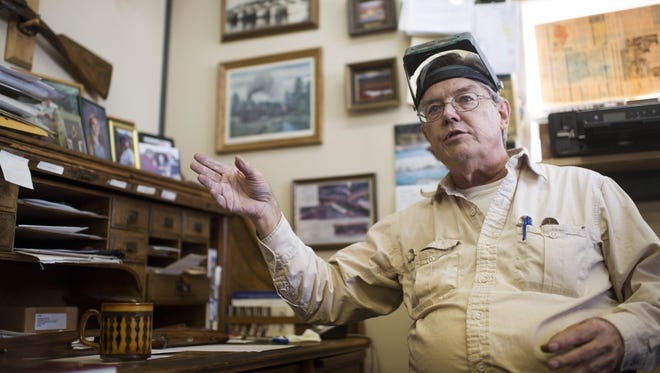 In this Sept. 8, 2016 photo, Steven Hughes, a gunsmith, has been teaching his craft in a small workshop for the past five years in Livingston, Mont. The Livingston gunsmith who has been in the business for four decades often holds small, week-long seminars in his own workshop. The Bozeman Daily Chronicle reports the course is designed to give participants an introduction to custom stock making. (Rachel Leathe/Bozeman Daily Chronicle via AP)