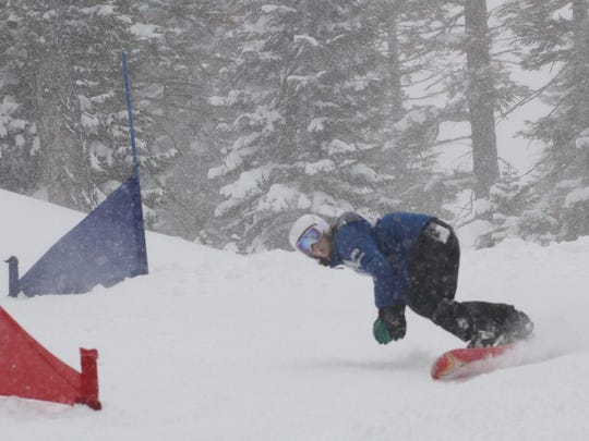 Mount Shasta High's Tate Harkness wins the girls giant slalom snowboard race Monday at the CNISSF state championships at Northstar at Tahoe.