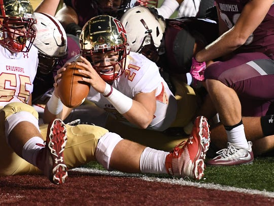 Bergen Catholic's Johnny Langan (21) scores a touchdown in the second quarter against Don Bosco as the NJSFC United Red rivals played at Bosco's Granatell Stadium in Ramsey on Friday, October, 27, 2017.