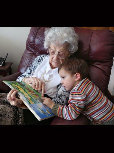 Hilda Wiehe, 102, and her great-grandson Henry Wiehe,