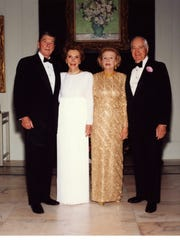 President Ronald Reagan and First Lady Nancy Reagan with Leonore and Walter Annenberg at Sunnylands.