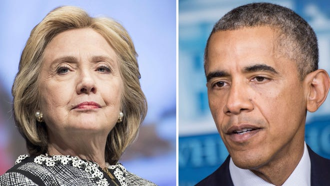 Democratic presidential front-runner Hillary Clinton and President Obama