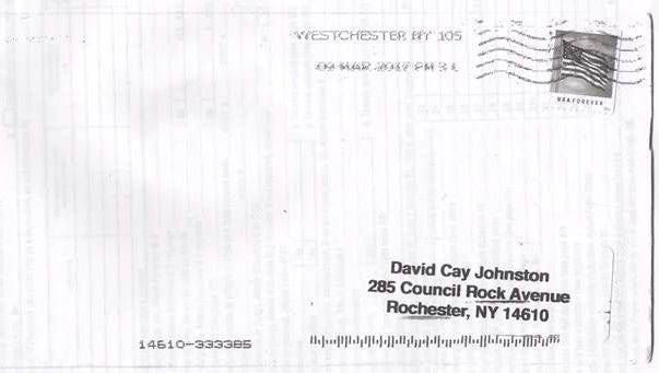The envelope in which Donald Trump's 2005 tax returns were mailed to journalist David Cay Johnston.