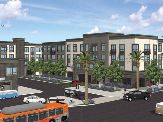 Artist's rendering of proposed 287-unit apartment complex at corner of Tapo and Alamo streets in Simi Valley.