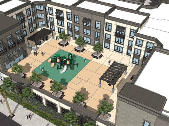 Artist's rendering of proposed 278-unit apartment complex at Tapo and Alamo streets in Simi Valley.
