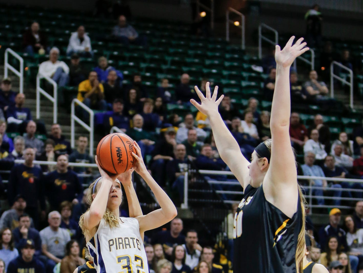 P-W's Emily Spitzley connects from the paint against Maple City Glen Lake Thursday, March 16, 2017, during the Class B Semifinal at the Breslin in East Lansing. P-W won 64-51.[MATTHEW DAE SMITH | Lansing State Journal]