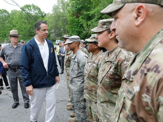 New York Governor Andrew Cuomo with local officials