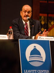 City council candidate Scott Phillips speaks during a debate held at Southern Utah University by the Michael O. Leavitt Center for Politics & Public Service, Tuesday, October 17, 2017.