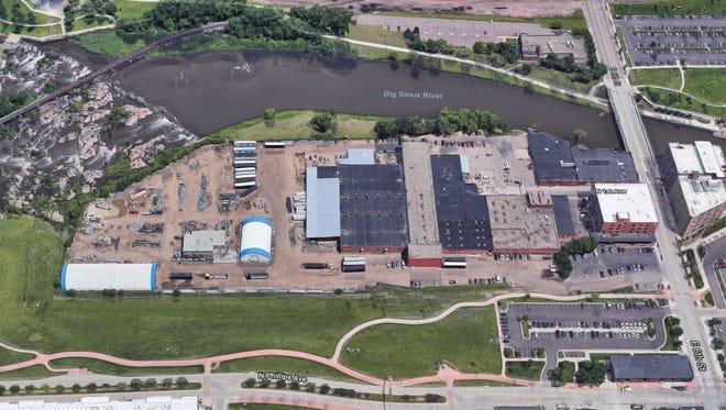 An aerial view of the Sioux Steel property in downtown Sioux Falls, looking east. The 10.75 acre site will be rezoned for development, and Sioux Steel plans to relocate.