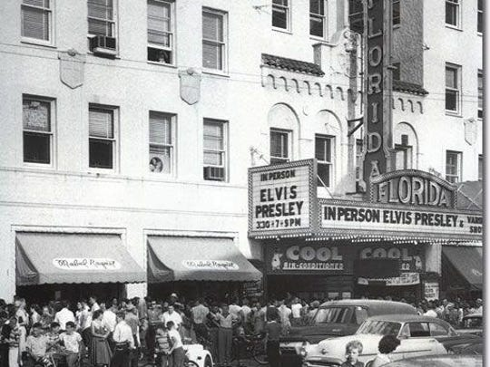 Crowds gather in front of the Florida Theater in St. Petersburg to see Elvis Presley in 1956.