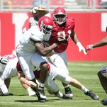 Bo Scarbrough scored three touchdowns in Saturday's scrimmage.