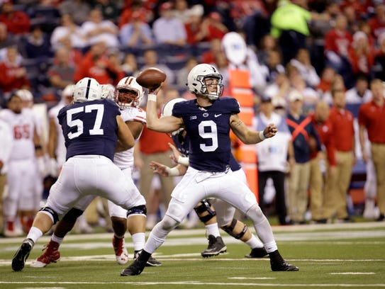 Penn State quarterback Trace McSorley (9) throws during
