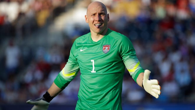 United States goalkeeper Brad Guzan reacts after giving up a goal to Panama's Harold Cummings during a penalty kick shootout in the CONCACAF Gold Cup third place soccer match, Saturday, July 25, 2015, in Chester, Pa. Panama won.
