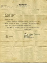 A letter from the U.S. War Department sent to William H. Billman in 1946 accompanied the Croix de Guerre. The letter had been forwarded to the U.S. from the French government.