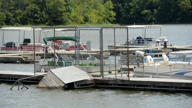 The boat dock at Middlefork Reservoir broke away from the bank last month and floated into open water.