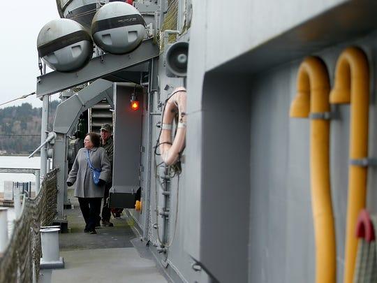 Ireline and Robert Apple, of Mossy Rock, tour the USS