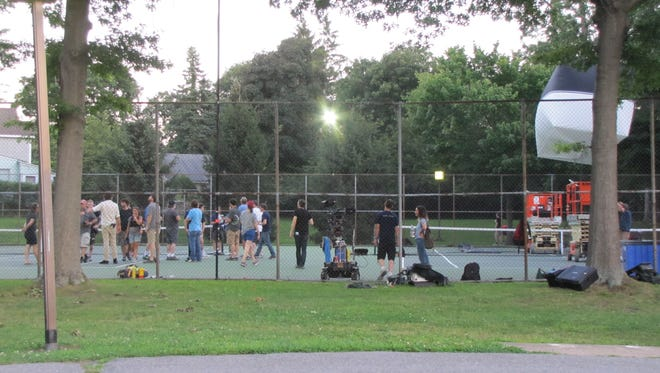 The tennis courts at Florence Park in Mamaroneck becomes a set for a shoot for the Amazon  1980s coming-of-age comedy series 'Red Oaks,' on Friday, July 31, 2015.