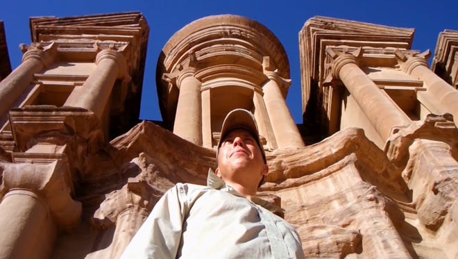 "Old Bridge filmmaker Michael Reese is pictured at Petra in Jordan on one of his world travels captured in his adventurous documentary ""I Fear Regret."""