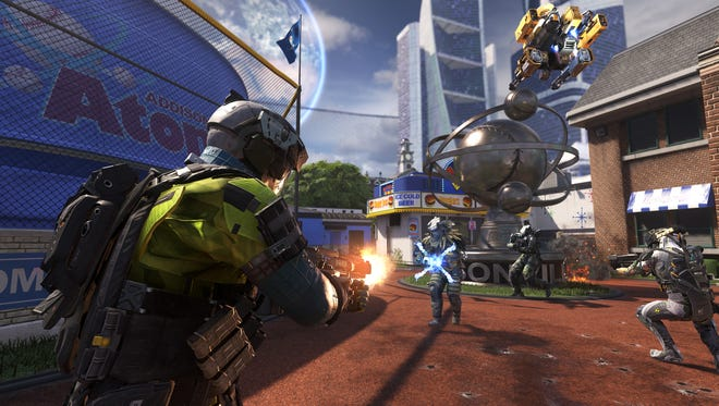 A scene from an online multiplayer match in 'Call of Duty: Infinite Warfare.'