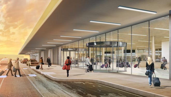 A rendering of the proposed new front entrance to the Elmira Corning Regional Airport.