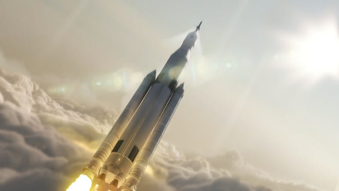 Artist concept of NASA's Space Launch System, in its 70-metric-ton configuration, launching to space.